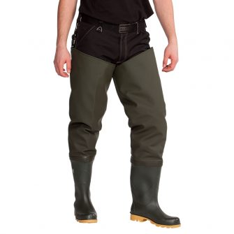 Full thigh waders with plain sole .