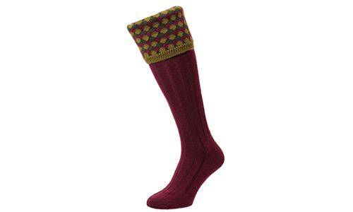 Hadleigh Shooting Socks - Wine - HJ627