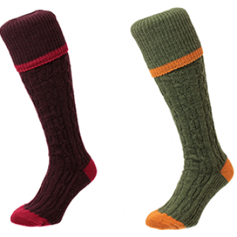 HJ Hall Cable Stripe Shooting Socks